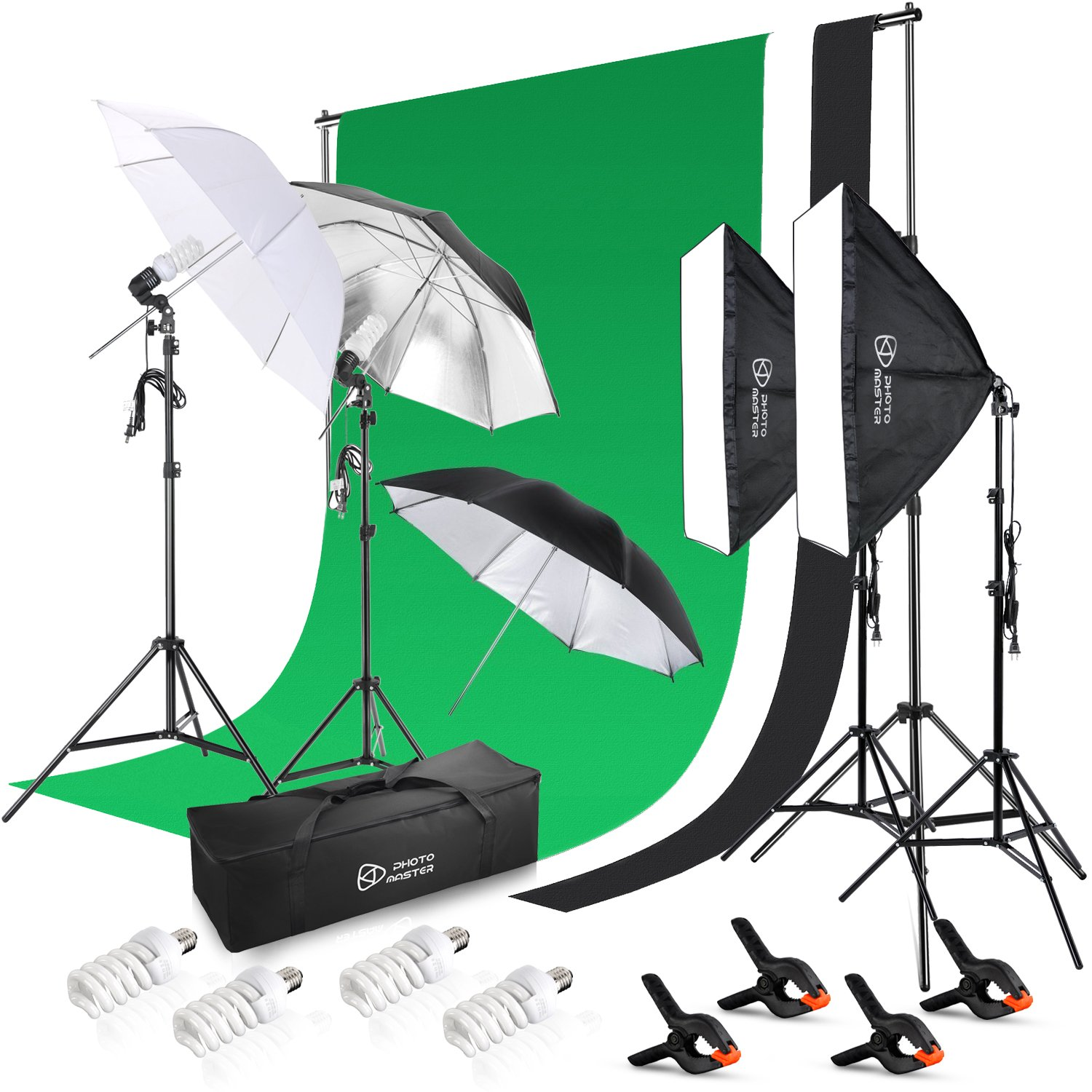 Photo Master Photography Continuous Lighting Umbrellas Kits for Product Portrait and Video Shoot - Included Background Support, 3 colors Backdrops, 3 x Umbrella Light Kit, 2x Softbox