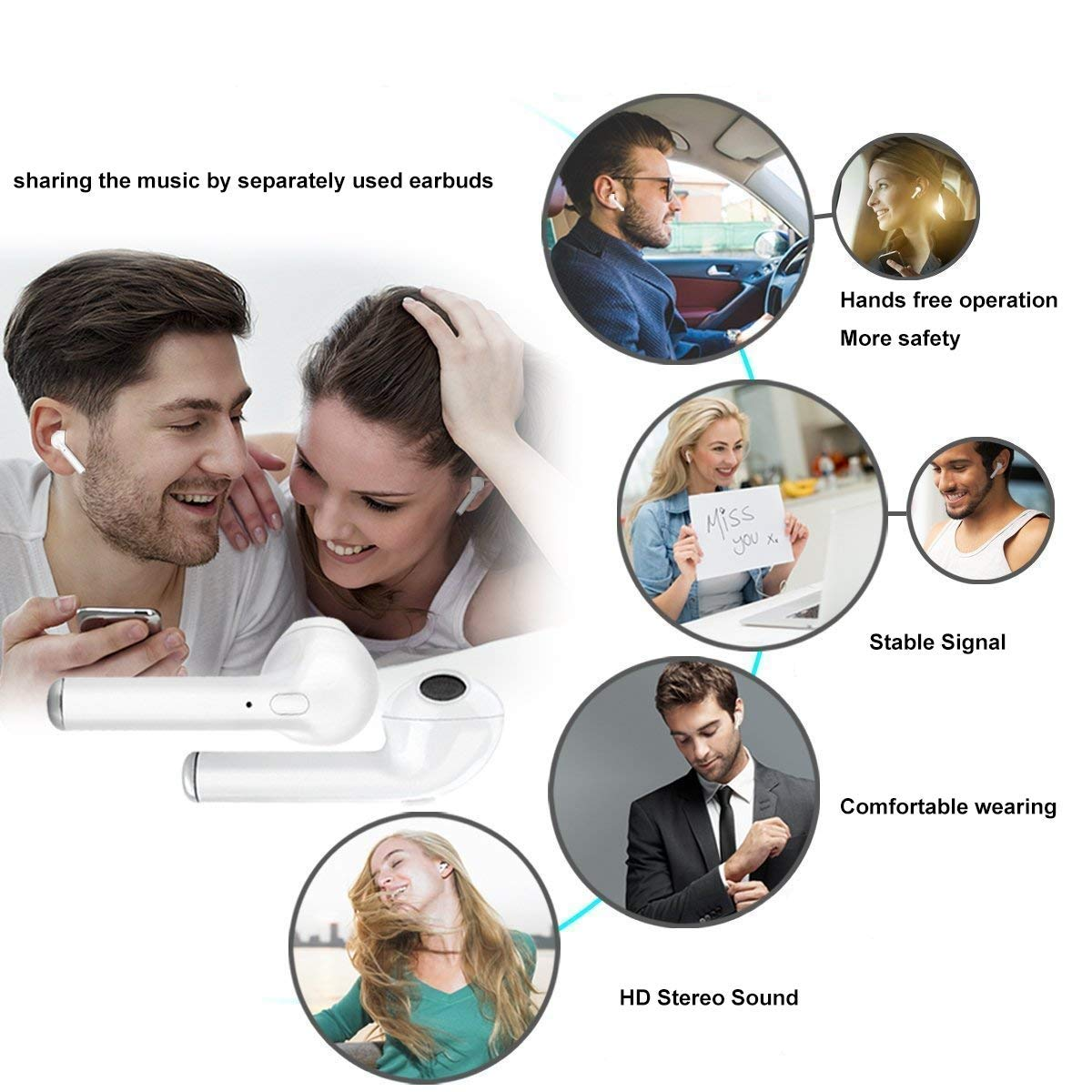 True Wireless Bluetooth Headphones,in-Ear Wireless Earbuds Touch Control TWS Bluetooth 5.0 Earphones with HD Microphone Sports Earbuds,Headphones Compatible with Apple Airpods Android iPhone Samsung
