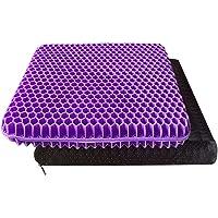 Purple Gel Seat Cushion, Office Chair Seat Cushion Double Thick Gel Cushion Breathable Lumbar Support Chair Cushion…