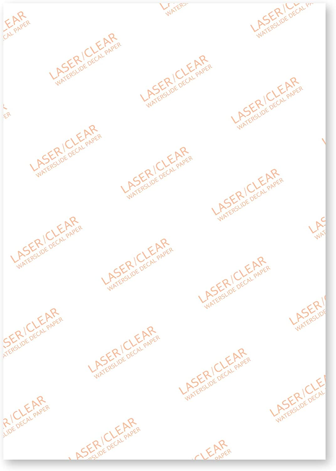 Sunnyscopa Laser Waterslide Decal Paper Urethane Standard 8.5X11, Clear, 100 Sheets