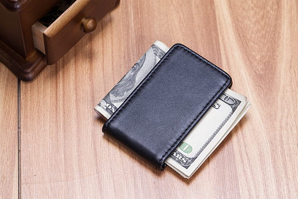 Bifold Wallet Premium Mens Full Grain Genuine Leather Magnetic Money Clip