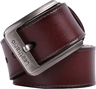 Leathario Cintura in Pelle da Uomo con Fibbia in Metallo Cinghia Cuoio Elegante per Lavoro Casuale per Luso Quotidiano
