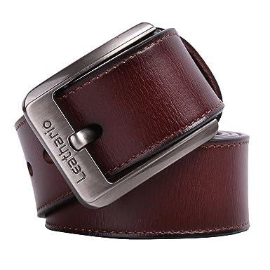 entrega rápida a pies en cupón doble Leathario cinturones de hombre de piel sintetica cinturones de moda de  cuero con buenos acabados para caballeros hebilla elegante