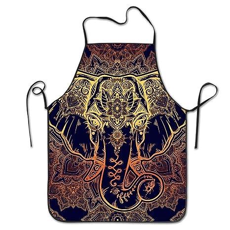 Hermoso Delantal Ajustable del Elefante De Paisley para Asar ...