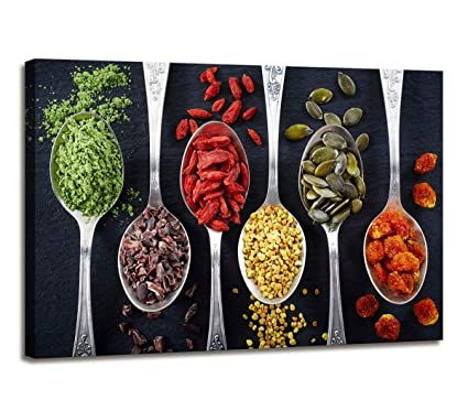 Kitchen Wall Decor Colorful Spice in Silver Spoon Canvas Print Wall Art for  Kitchen Dining Room Decor Modern Art Hallway Decor for Walls Kitchen ...
