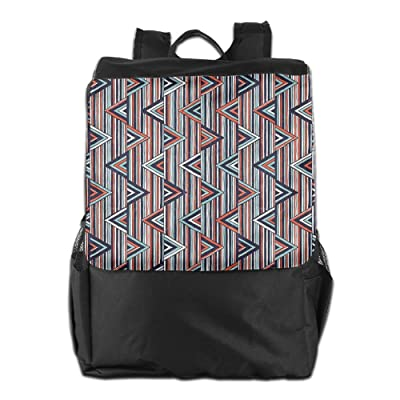 Newfood Ss Striped African Abstract Ethnic Pattern With Creative Triangles Outdoor Travel Backpack Bag For Men And Women