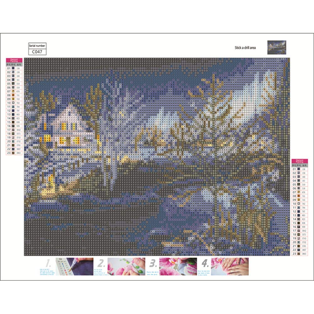 House Maple, 30X30 CM 5D Diamond Painting Kit DIY Rhinestone Embroidery Cross Stitch Arts Craft for Home Wall Decor Landscape House Boat Water 40X30CM