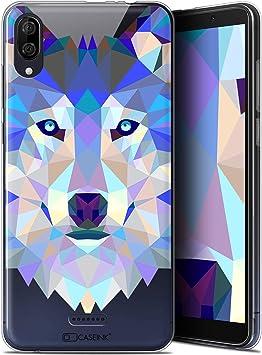 Caseink Coque pour Wiko Y80 (6) [Gel HD Polygon Series Animal - Souple - Ultra Fin ] Loup
