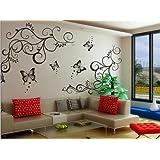 Decals Design 'Lovely Butterflies' Wall Sticker (PVC Vinyl, 60 cm x 90 cm, Black)