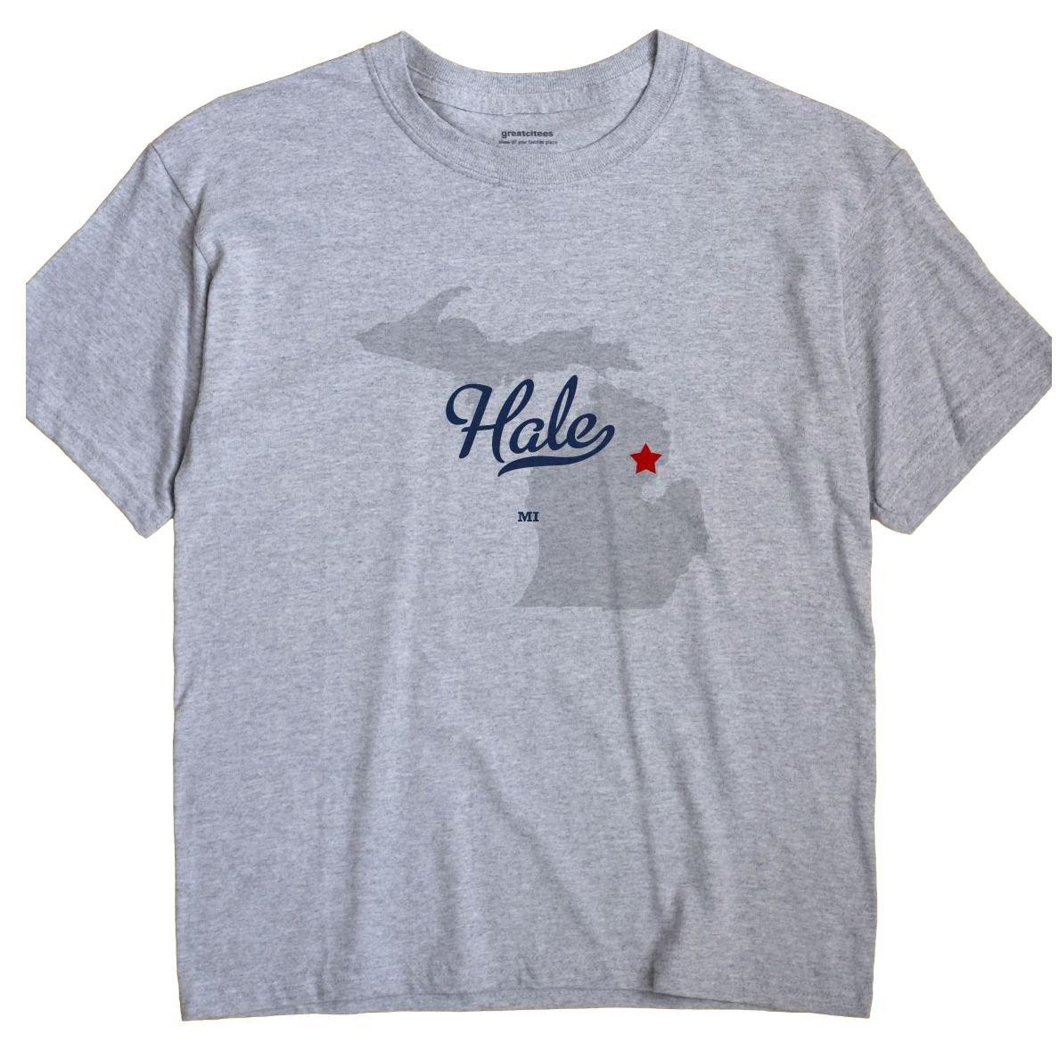 Amazon Com Greatcitees Hale Michigan Mi Map Unisex Souvenir T Shirt
