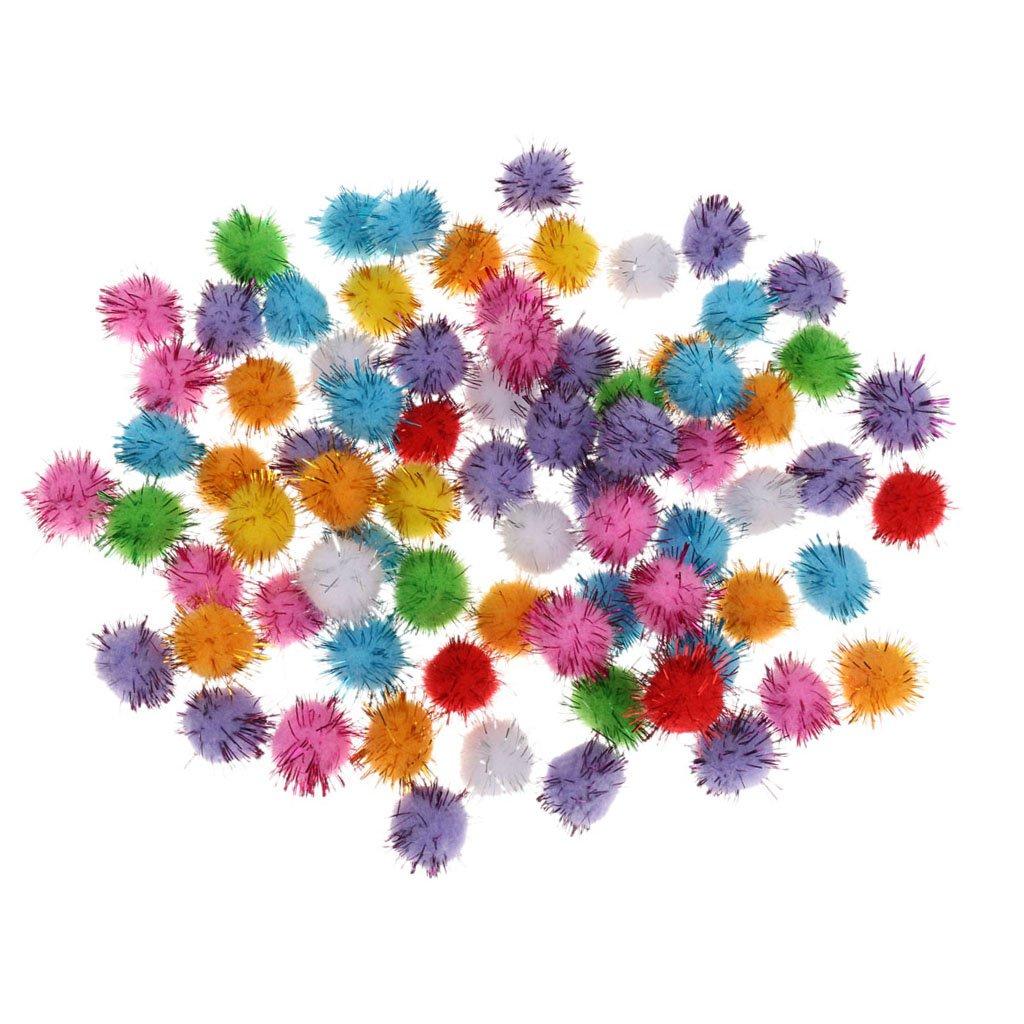 100pcs 2.5cm Pompons Balles Glitter Jouet Chat Fournitures Artisanats Arts Noël