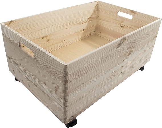 Search Box Caja de Almacenamiento de Madera con Ruedas y Asas, tamaño Extragrande, de 1 a 4 Niveles, Madera, Natural, 1 Tier: Amazon.es: Hogar