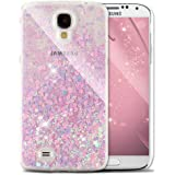 For Samsung Galaxy S4 Case Liquid,Galaxy S4 Case for Girls,Galaxy S4 Case Gold,Galaxy S4 Case Bling Glitter Transparent Liquid Hard Plastic Case,EMAXELERS Galaxy S4 Case Cute,Galaxy S4 Case Clear,Galaxy S4 Case Glitter Crystal Fluorescence Hearts Flowing Liquid Floating Moving Hard Protective Case Cover for Samsung Galaxy S4 I9500,Fluorescence Hearts:Blue Pink