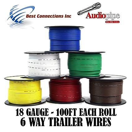 Remolque cable luz de alambre para arnés 6 way cable calibre 18 ...