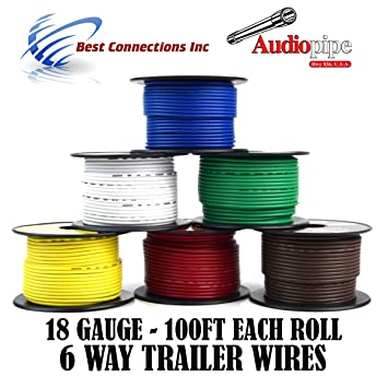 Amazon.com: Trailer Wire Light Cable for Harness 6 Way Cord 18 Gauge on 6 way ignition switch, 6 way trailer lights, 6 way trailer cable, 6 way trailer hitch wiring, 6 way trailer connector,