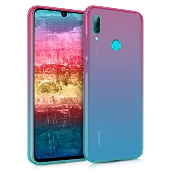 kwmobile Funda para Huawei P Smart (2019) - Carcasa de TPU para móvil y diseño Bicolor en Rosa Fucsia/Azul/Transparente