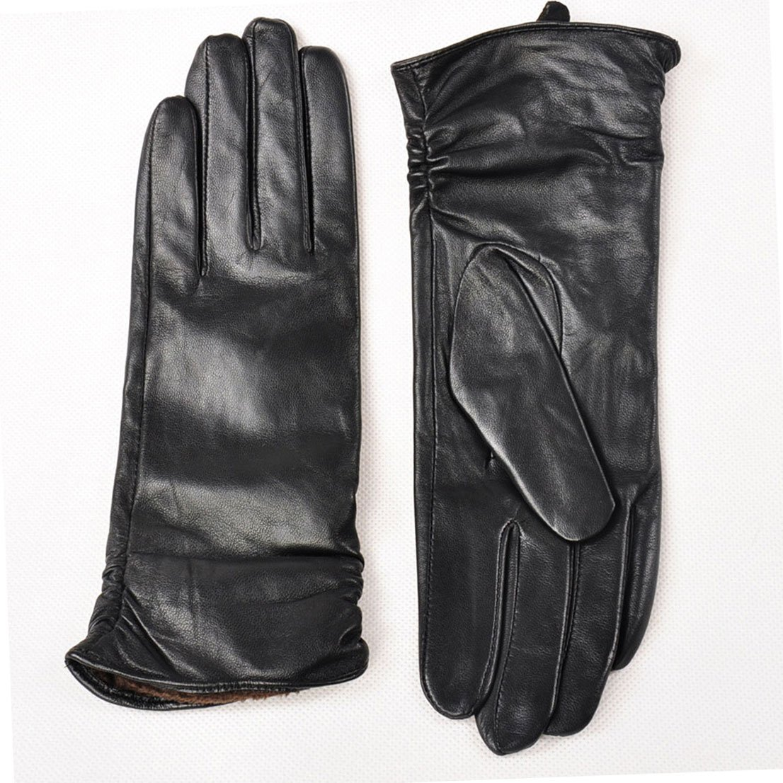 May&Maya Women's Opera Long slim fit Pleat detail wrist Fine Winter Leather Gloves (M, Black)