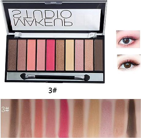 Lameila Sombra de Ojos de Color Mezclado Mate Brillante de 10 Colores Estuches de Sombras para Ojos: Amazon.es: Hogar