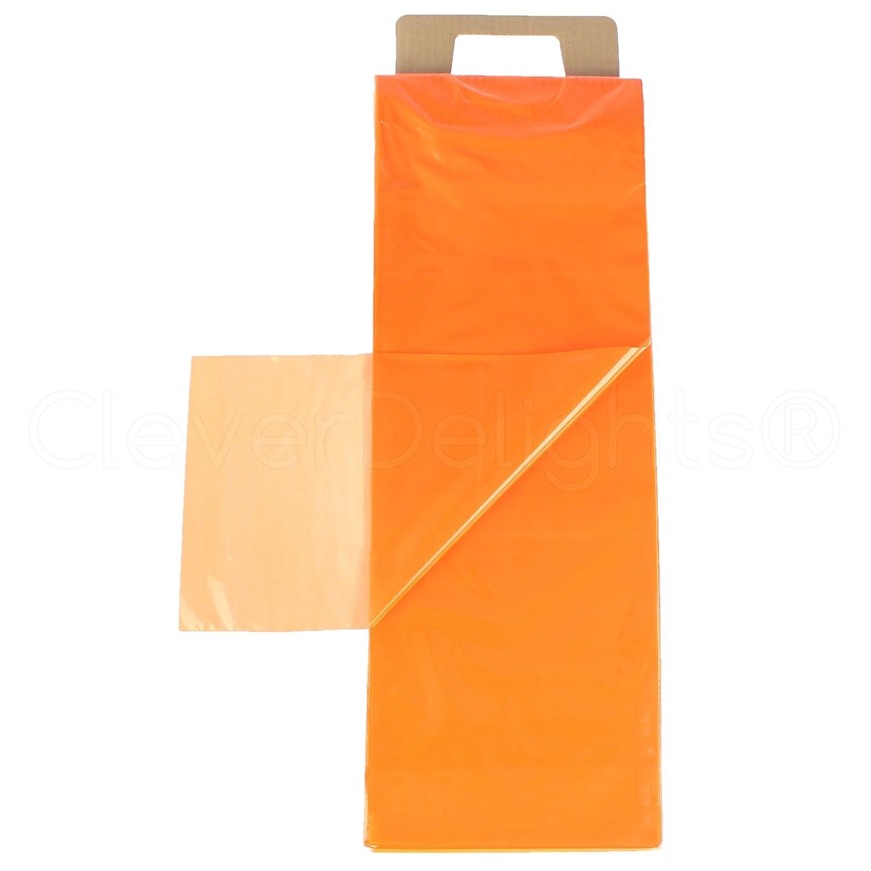 CleverDelights 7.5 x 21 Newspaper Bags Orange Heavy Duty Flat Open Plastic Bags 500 Pack 0.8 mil