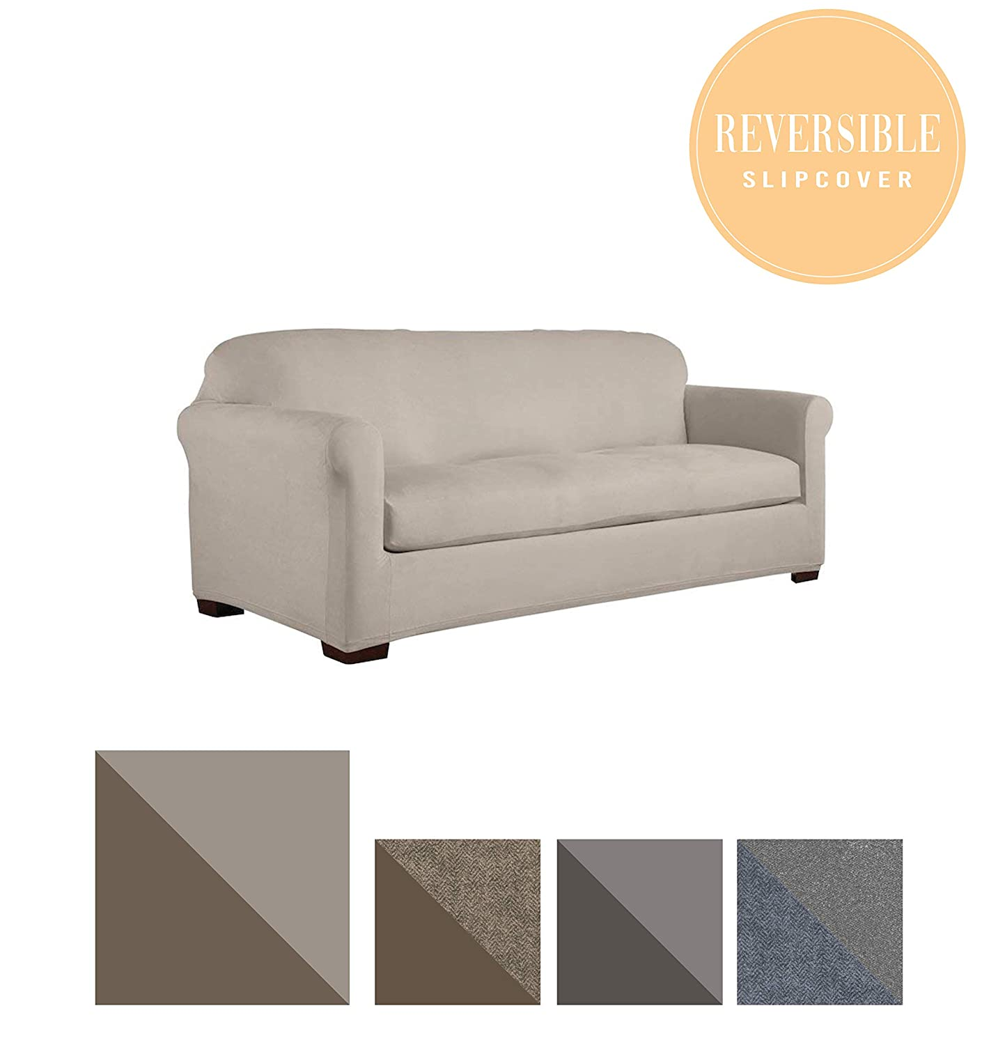 Slip-Resistant Form Fitting Furniture Slipcover for Sofa with Detachable Cushions Perfect Fit Serta Reversible Stretch Suede Steel Gray Herringbone//Gray Solid
