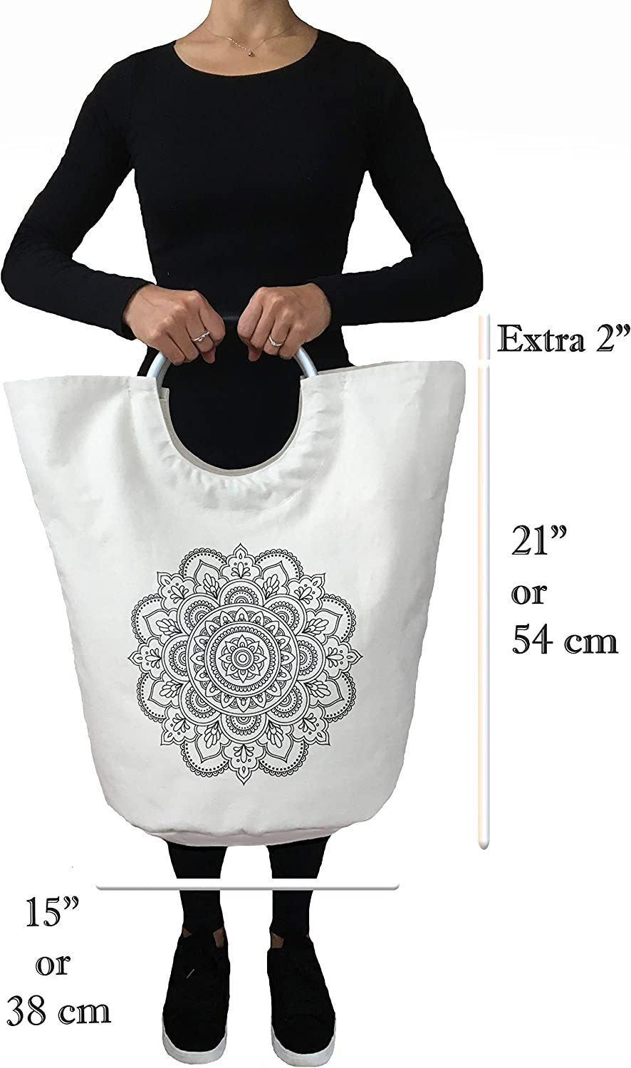Mandala Popself Laundry Hamper Collapsible Laundry Basket Foldable Kids Hamper Clothes Laundry Tote Folding Canvas Laundry Bag Teen Girl Gifts for Women College Dorm Room Essentials for Girls