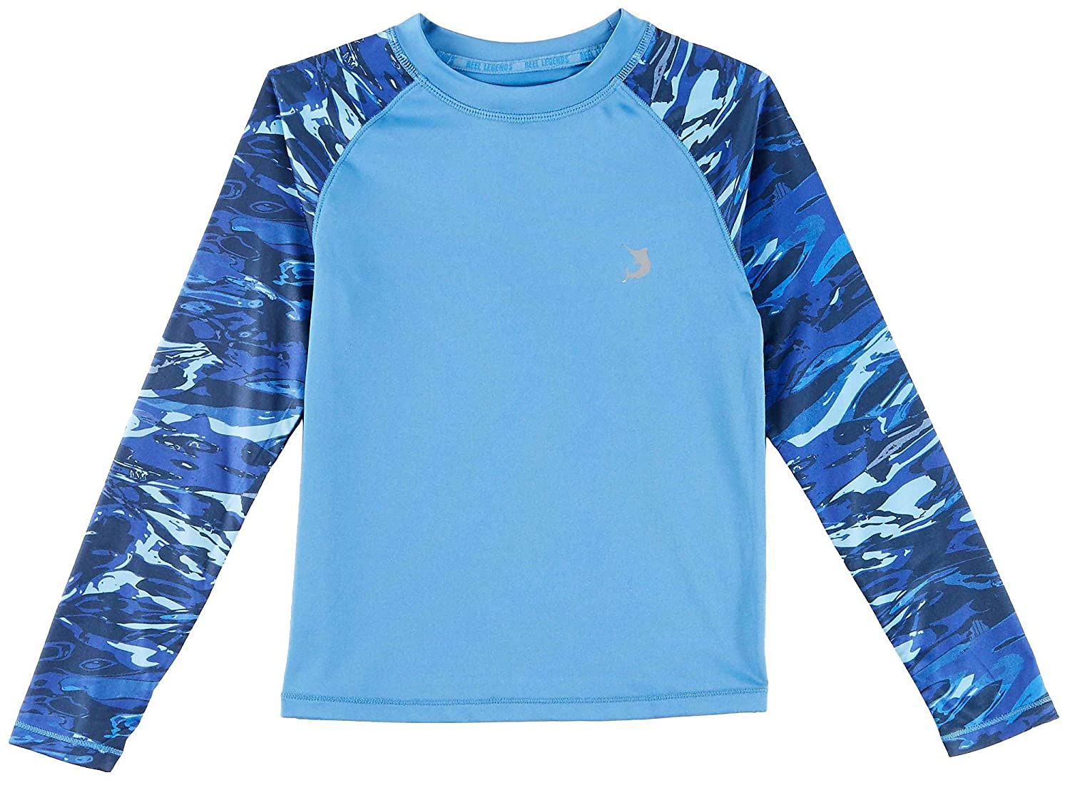 Reel Legends Little Boys Aqua Camo Long Sleeve Rashguard
