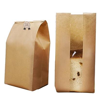 Funcoo - Paquete de 50 bolsas de papel para pan de papel ...