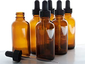 2oz Amber Glass Bottles with Glass Eye Dropper Dispenser for Essential Oils, Chemistry Lab Chemicals, Colognes & Perfumes (6 Pack)