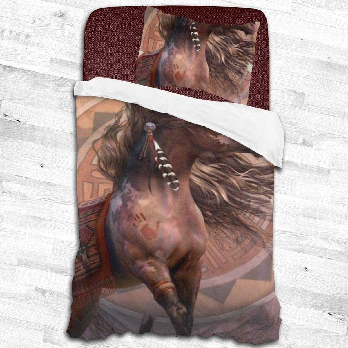 2 Pieces Bedding Duvet Cover Set Native American Indian Horse Coverlet Duvet Cover 53 x 79 Inch Home Collection Pillowcase Pillow Shams Lightweight Comforter Bedspread Set For Teens Kids Children