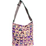 New Girly HandBags Washed Cotton Butterfly Canvas Messenger Ladies Slouch Bag