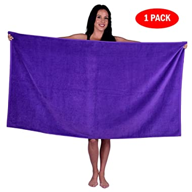 Turquoise Textile 100% Turkish Cotton Eco-Friendly Oversize Solid Pool Beach Towel, 35x60 Inch (1 Pack, Purple)