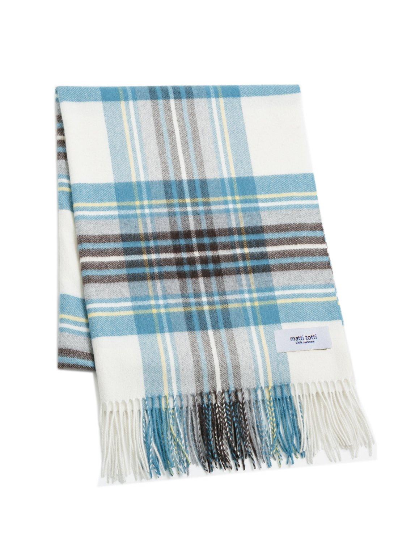 White X Blue 100% Cashmere Plaid Shawl Stole Women Gift Scarves Wrap Blanket B0914B1-9