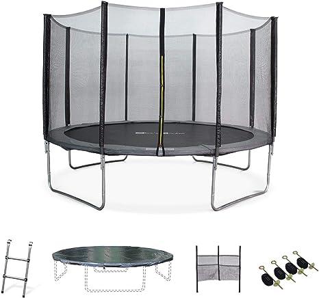 Alices Garden - Cama elastica, Trampolin de 370 cm, aguanta hasta 150 kg (estructura reforzada). Incluye: escalera + funda protectora + bolsillo para zapatos+ kit de anclaje - Saturn XXL: Amazon.es: Deportes y aire libre