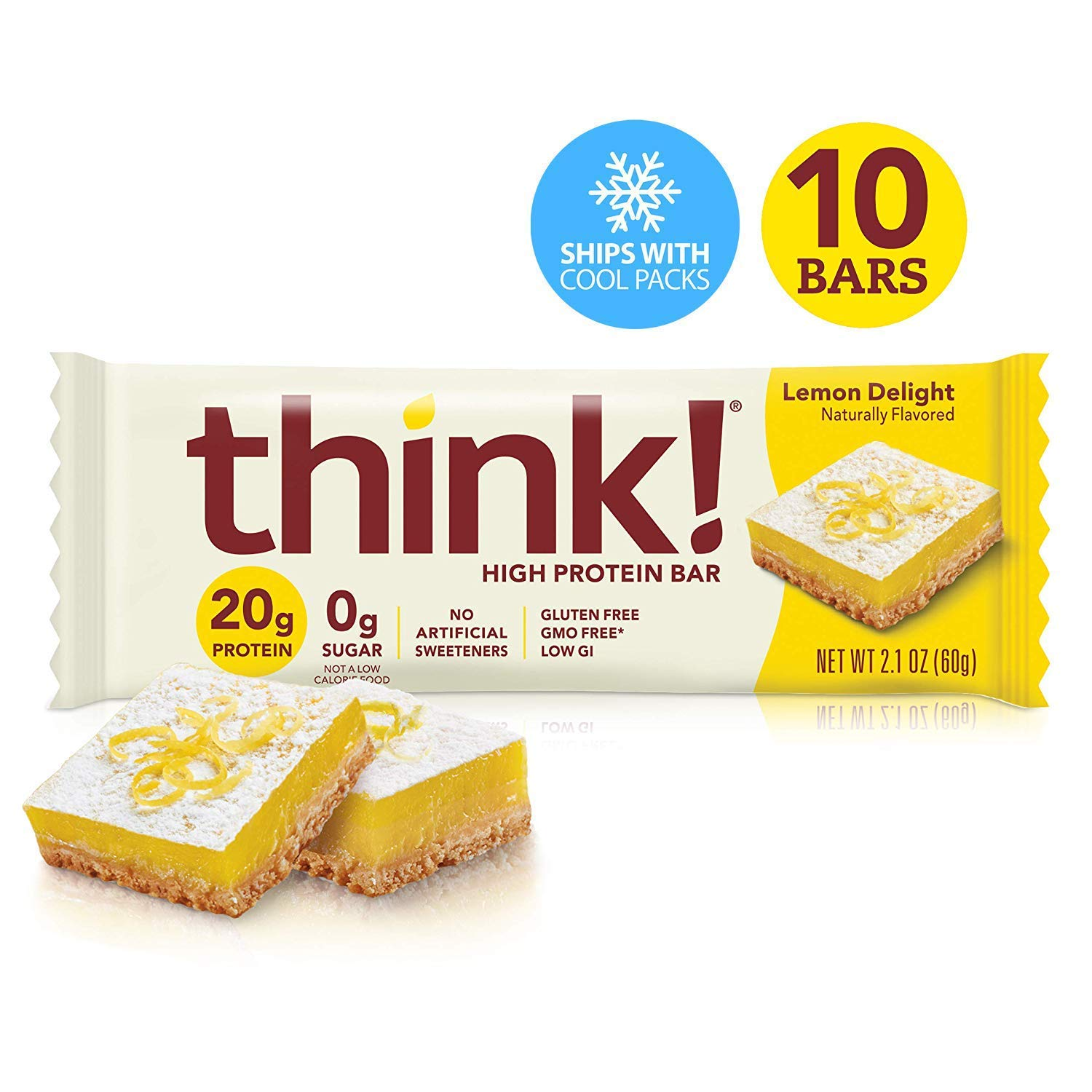 think! (thinkThin) High Protein Bars - Lemon Delight, 20g Protein, 0g Sugar, No Artificial Sweeteners, Gluten Free, GMO Free*, 2.1 oz bar (10Count - Packaging May Vary) by thinkThin