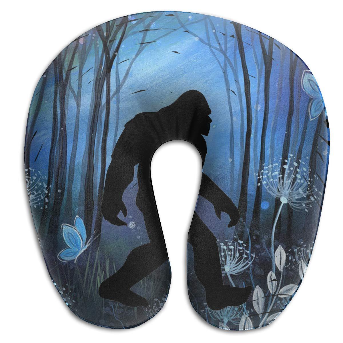 Wodehous Adonis Comfort Retro Into The Wood Bigfoot Sasquatch Memory Foam Neck Pillows Neck-Supportive Travel Pillow