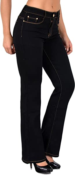 ESRA Damen Jeans Hose Bootcut Damen Jeanshose Boot Cut