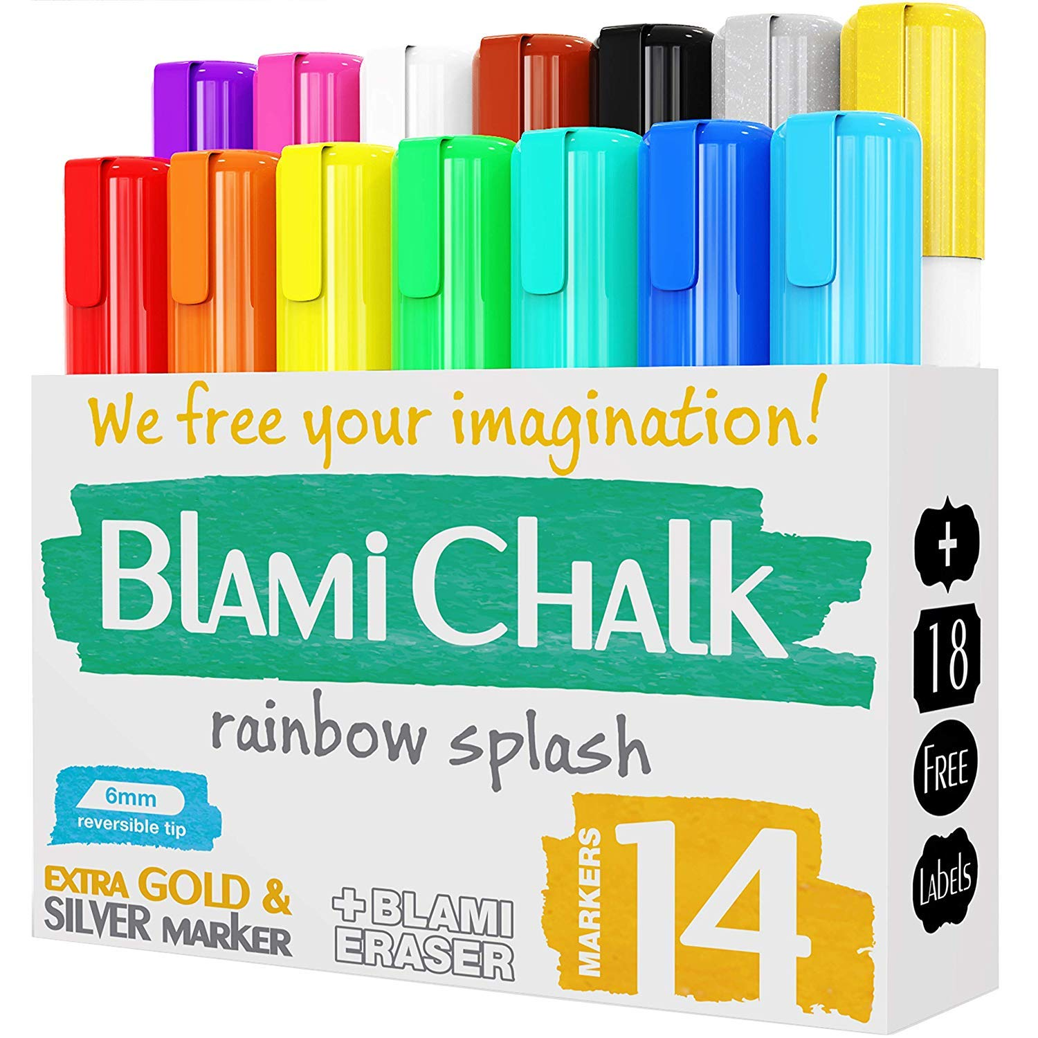 Blami Arts Chalk Markers and Chalkboard Labels Pack, 14 Erasable Liquid Ink Pens, Non Toxic Extra Gold and Silver Colors Included, Reversible Tips by Blami Arts