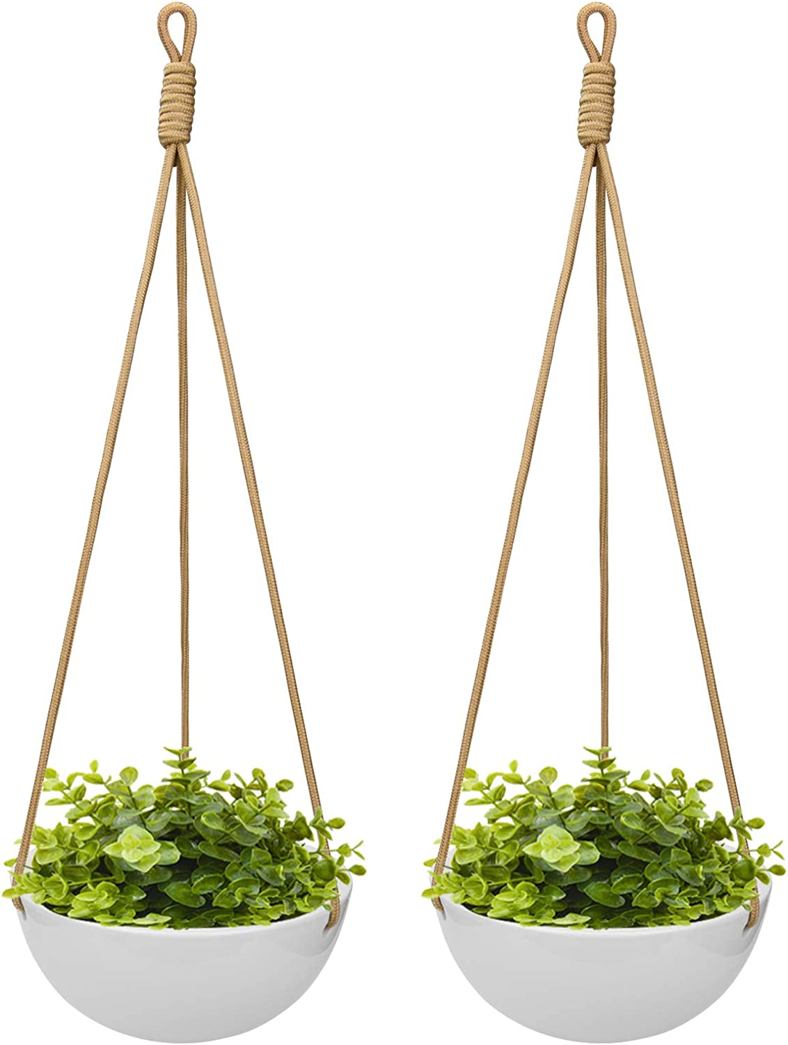 Foraineam 9 Inch Ceramic Hanging Planter Indoor Outdoor Modern Porcelain Wall Hanging Plant Holder White Garden Flower Pots for Ivy Herbs Ferns Crawling Plants, Set of 2