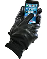 Men's Isotoner Touch Screen Leather & Wool Thermaflex Lined Gloves Black