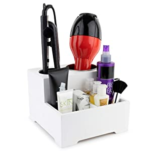 Stock Your Home Hair Care Organizer - Blow Dryer Holder - Hair Styling Station - Bathroom Vanity Countertop Organizer for Curling Iron, Flat Iron, Hair Tools and Beauty Accessories (White, Small)