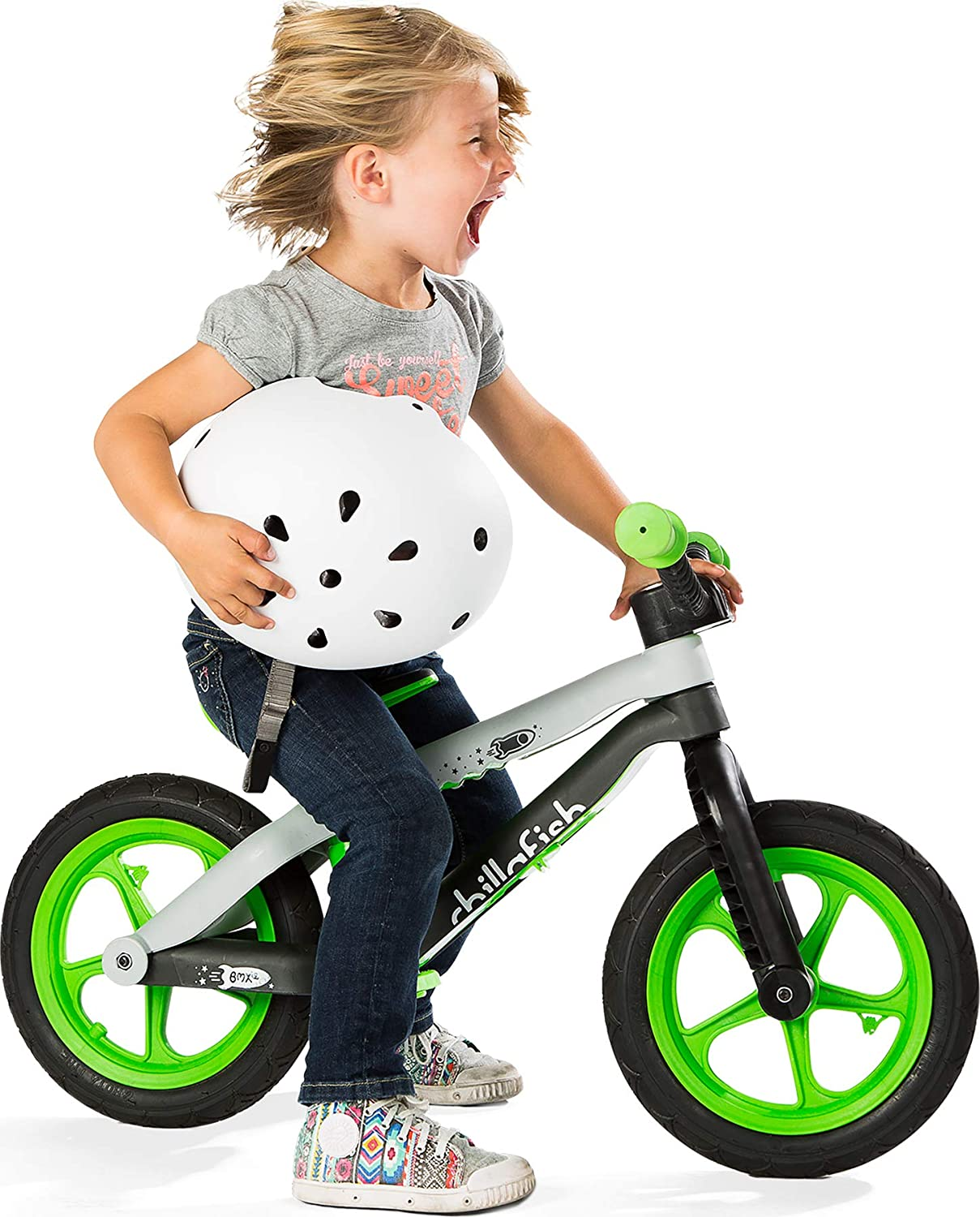 Lime Fixie Fixed-Gear Styled Balance Bike with Integrated Footrest Footbrake /& Airless Rubberskin Tires Chillafish Bmxie 2