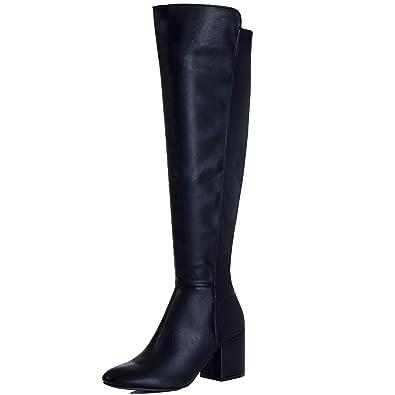 a48be3cb86e Spylovebuy AVVA Women s Block Heel Over Knee Tall Stretch Boots ...
