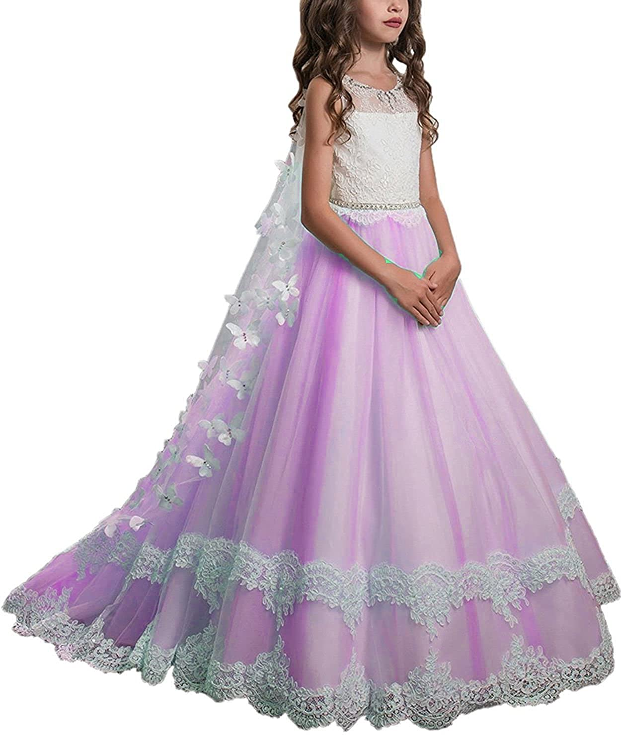 SHENLINQIJ Flower Girl Dress Juniors Long Lace Wedding Gown with Butterfly