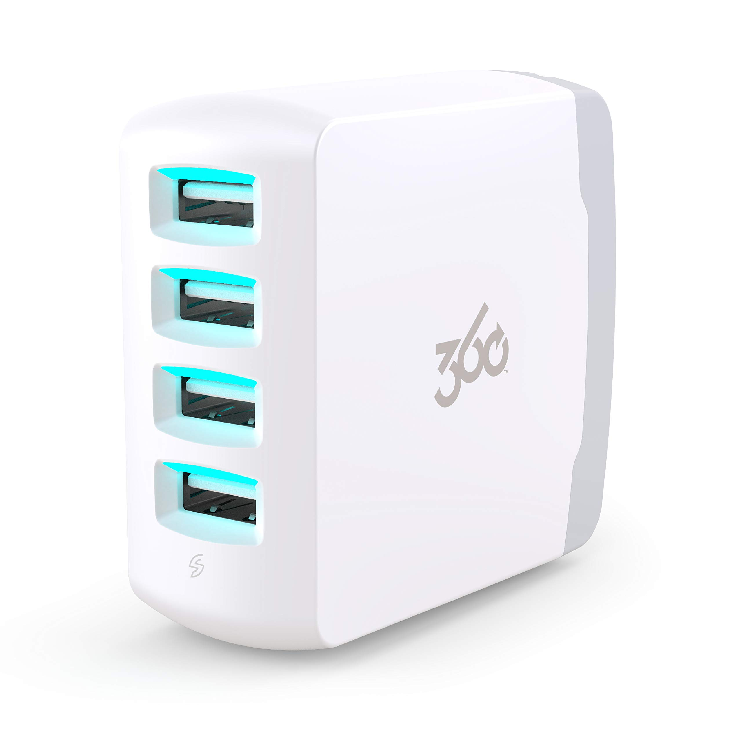 360 Electrical 360661 Vivid 8.0 USB Wall Charger with Four USB Ports, 8.0 Amp (40 Watt) Charging Power, Folding Plug, LED Guide Lights and Charge Sense Technology (White)