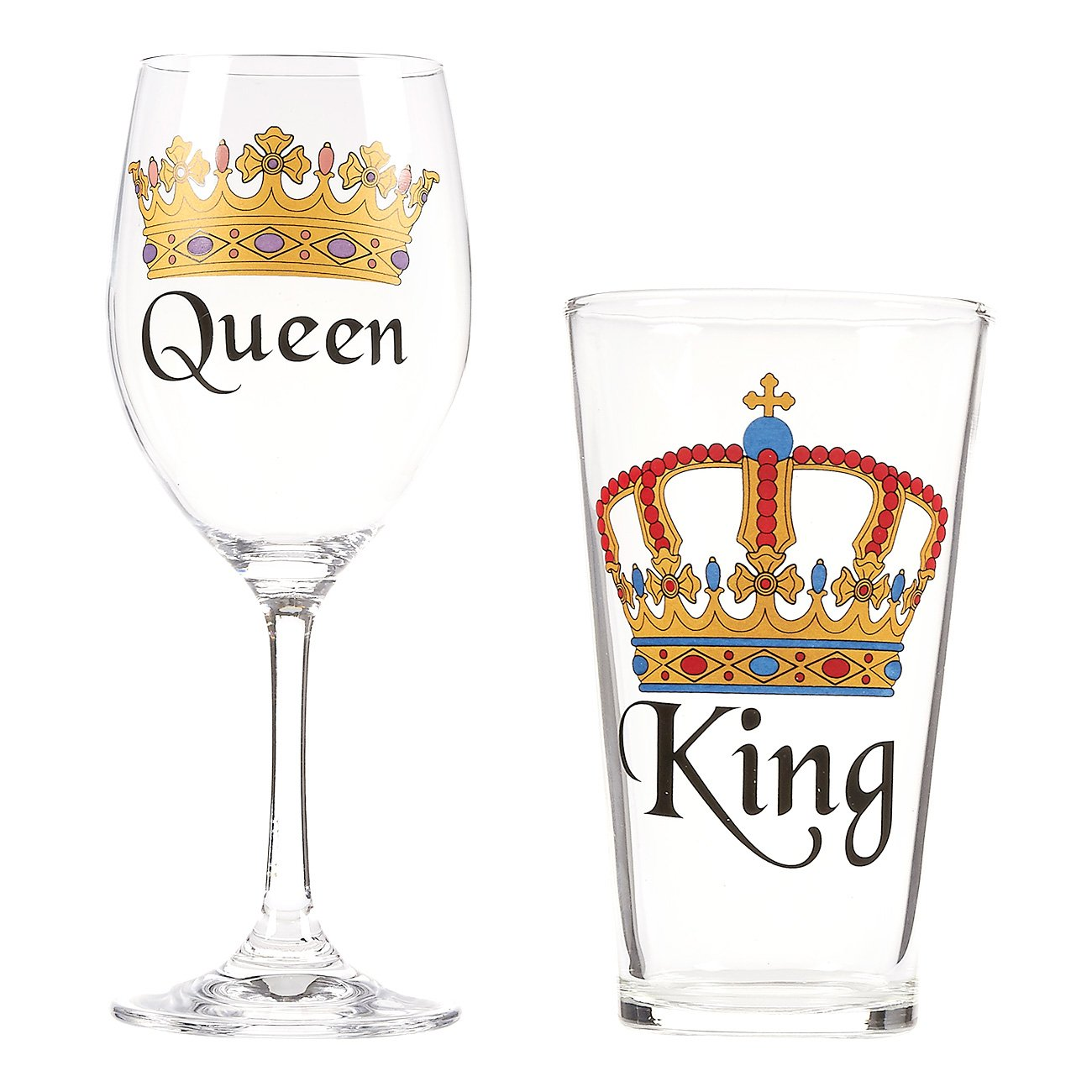 Beer and Wine Glass Set – Pair of Crown Royalty Drinking Glasses with King and Queen Print for Mr. & Mrs. and Couples, Ideal Novelty Gift for Wedding, Engagement, Anniversary, Housewarming Present