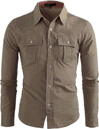 Allegra K Camisa con Botones para Hombres De Mangas Largas Bolsillos con Solapa del Pecho - Caqui/S (US 34)?S (EU 44): Amazon.es: Ropa y accesorios