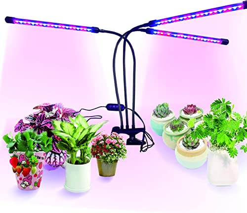 Plant Grow Lights, 60W 3 Head Grow Lights Timing 60 LED 5 Dimmable Levels for Indoor Plants with Red Blue Spectrum, Adjustable Gooseneck, 3 6 12H Timer, 3 Switch Modes