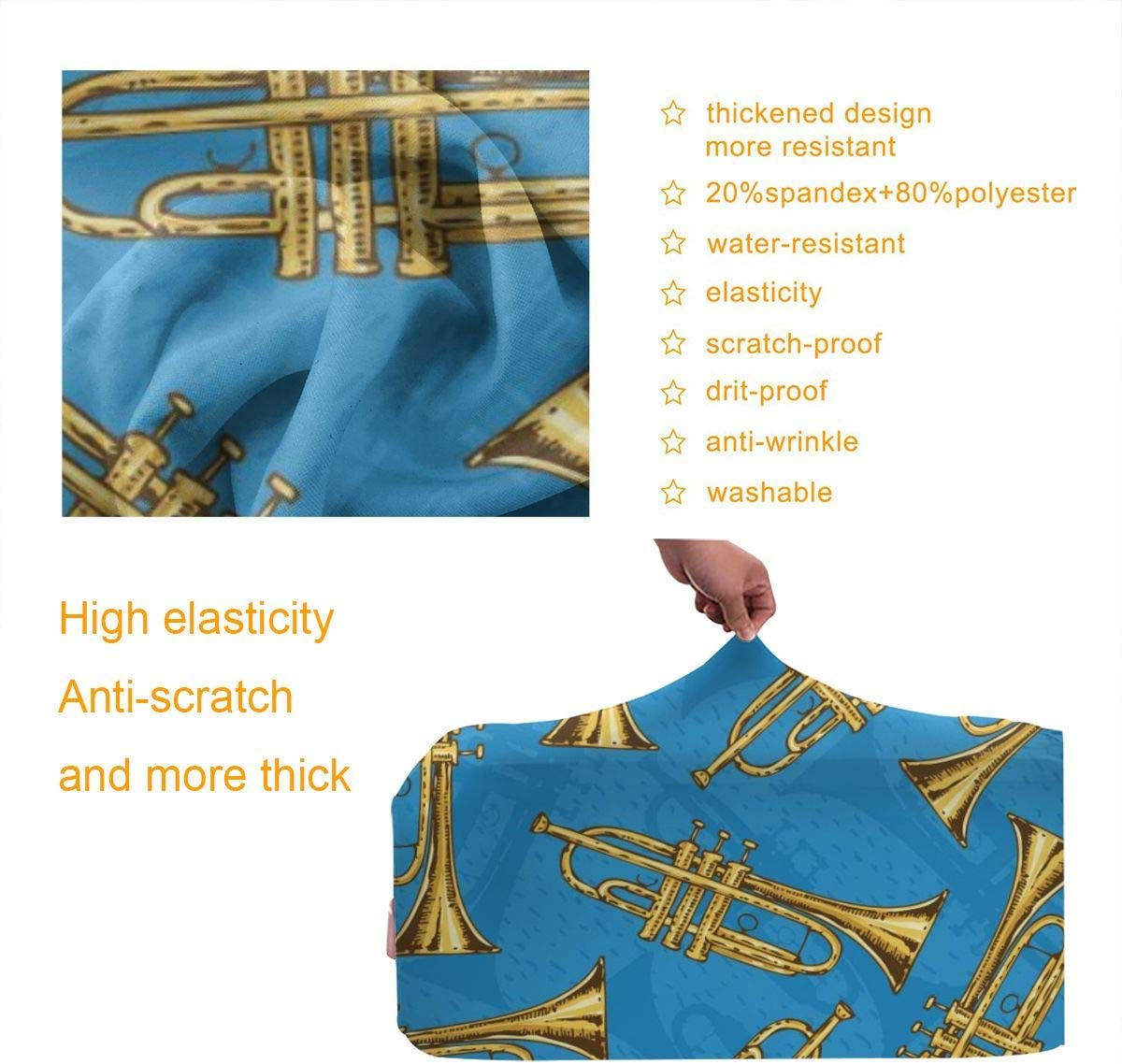 Brass Trumpets Travel Luggage Cover Suitcase Protector Washable Zipper Baggage Cover