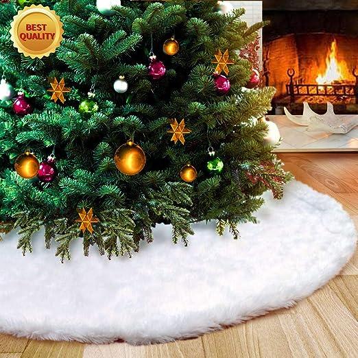 STCLIFE Falda del árbol de Navidad, 38 Inch/90 CM Snowy White Faux ...