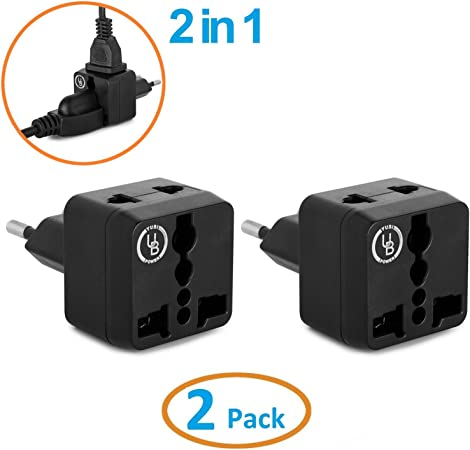 Yubi Power 2 In 1 Universal Travel Adapter 2 Universal Outlets Built In 2 pack